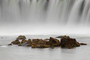 Godafoss waterfall in a foggy day