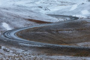 Snowed S curve in the ring road
