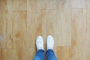 Selfie of feet in fashion sneakers