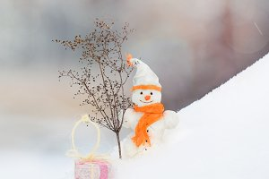 Snowman with nose carrot with gifts