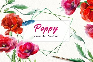Poppy watercolor set