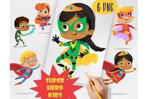 Cute Super Hero Kids Clipart