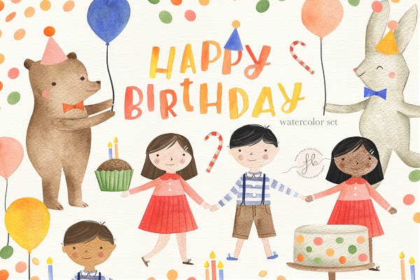 Illustrations and Illustration Products: Flora & Bear - Happy Birthday !