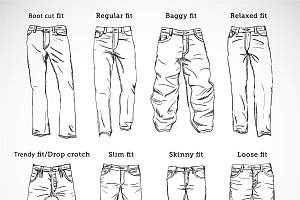 Denim Fit Vector Sketch Set