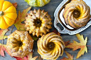 Pumpkin cakes, autumn food