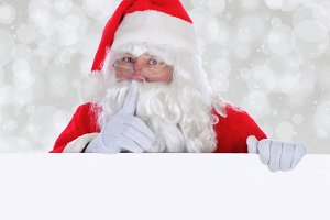 Santa Claus with a Blank Sign SSH