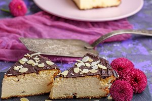 pieces of cheesecake with chocolate