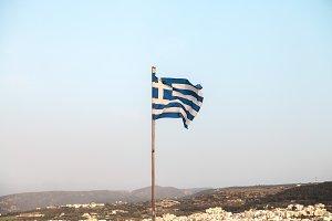 Flag of Greece.Rethymno,Crete.