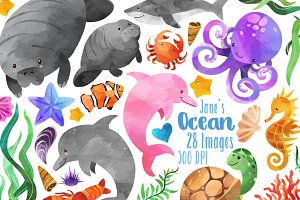 Watercolor Sea Creatures Clipart
