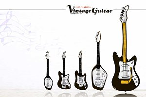 6 Vector vintage guitars set