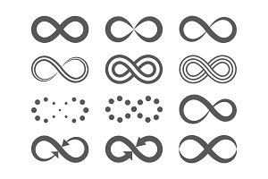 Black infinity symbols