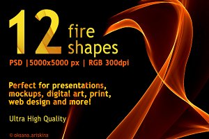 12 Flames and Fire shapes