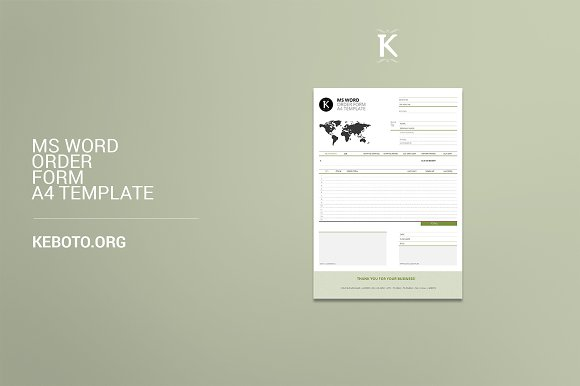 ms word order form a4 template stationery templates creative market