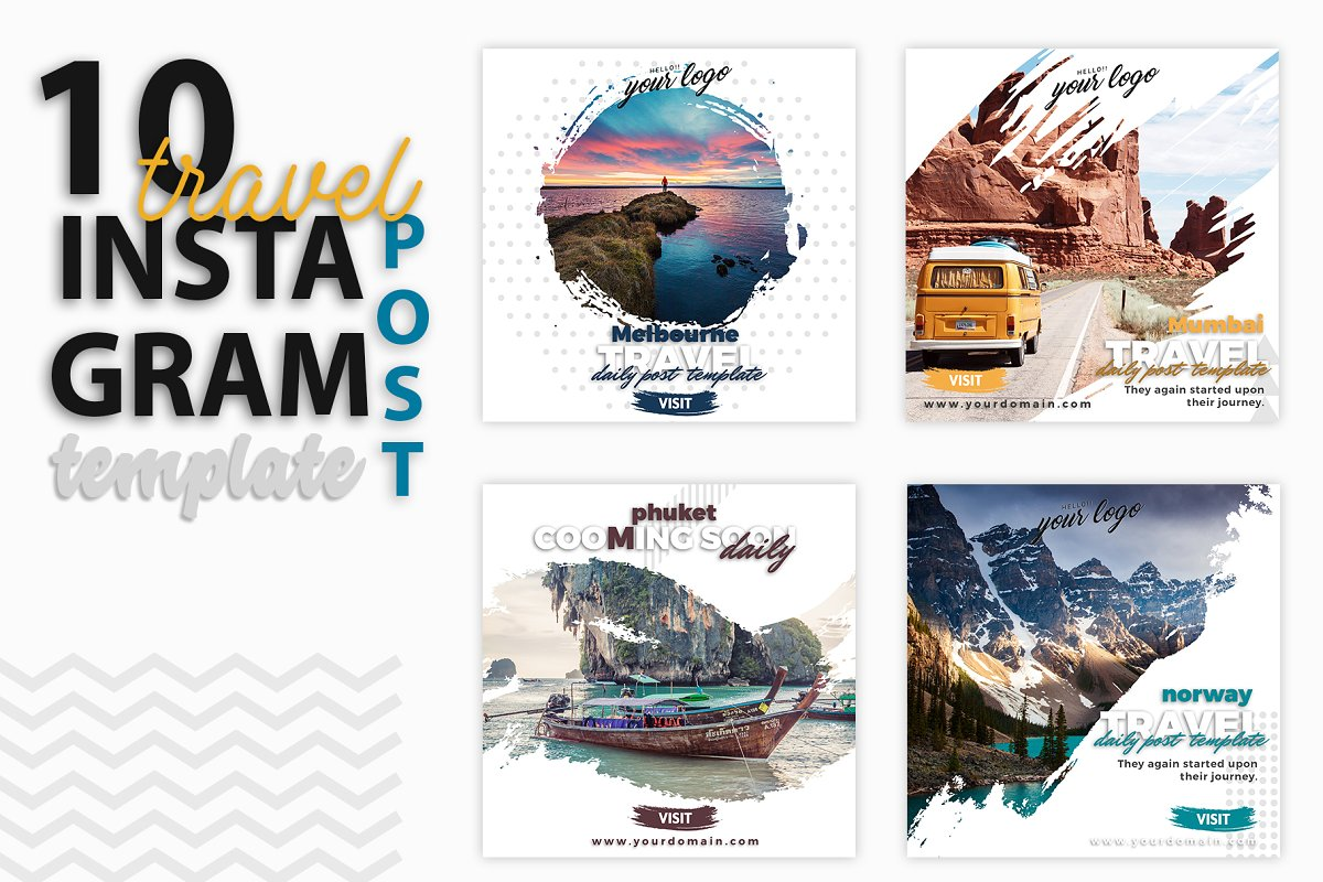 Instagram Post Template Travel Social Media Templates