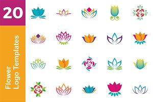 20 Logo Flower Template Bundle