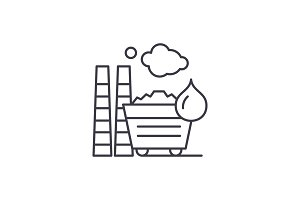 Industrial pollution line icon