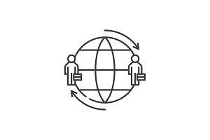 International team line icon concept
