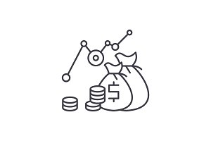 Investment profit line icon concept