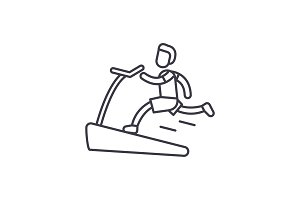 Jogging on the treadmill line icon