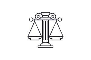 Judicial system line icon concept