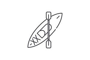Kayaks line icon concept. Kayaks