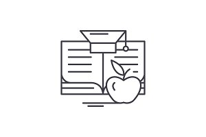 Knowledge learning line icon concept