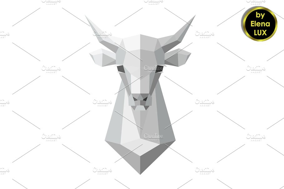 Cow Head Polygonal White Model