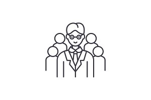 Leading top manager line icon