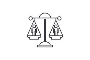 Legal decision line icon concept