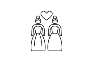 Lesbian marriage line icon concept