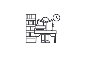 Library line icon concept. Library