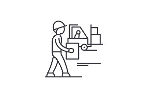 Loading goods line icon concept