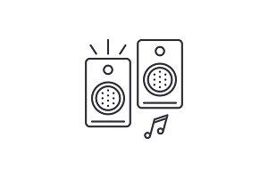 Loudspeakers line icon concept
