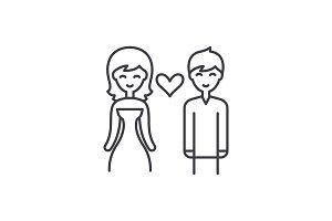 Love couple line icon concept. Love