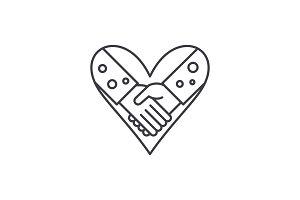 Love fidelity line icon concept