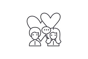 Love relationship line icon concept