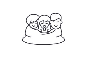 Love triangle line icon concept