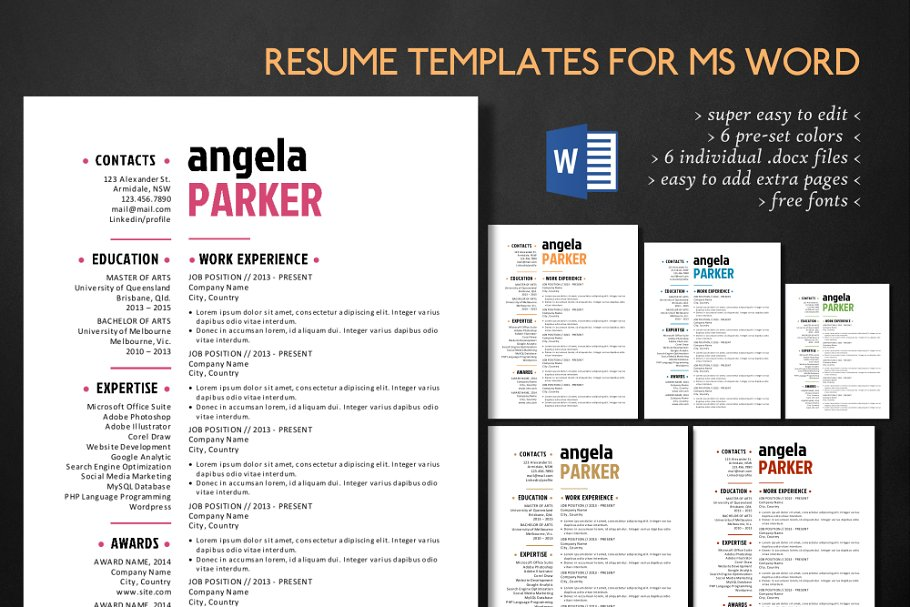 Simple 3 In 1 Word Resume Pack Templates Creative Market