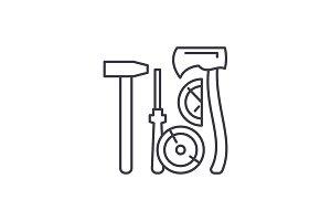 Lumberjack tools line icon concept