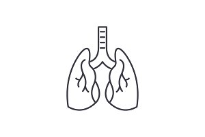 Lungs line icon concept. Lungs