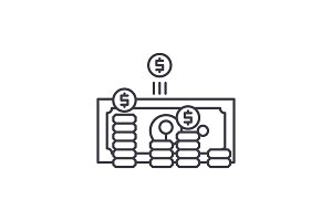 Making money line icon concept
