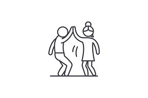 Man and woman are dancing line icon