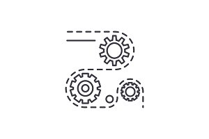 Manufacturing processes line icon