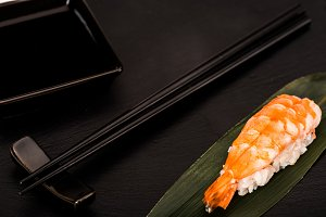 Close up of nigiri sushi with shrimp