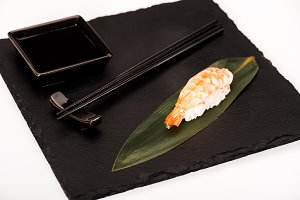 Nigiri sushi with shrimp served with