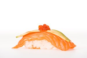 Nigiri sushi with salmon, caviar and