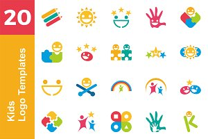 20 Logo Kids Template Bundle