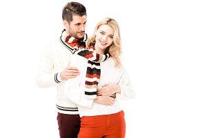Romantic couple in knitted scrafs hu