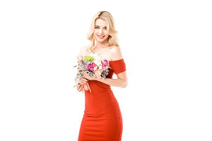 Beautiful woman in red dress holding