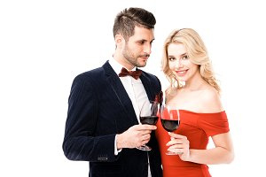 Attractive young couple  with glasse